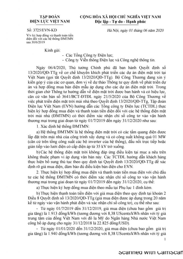 Văn bản số 3725/EVN-KD về việc ký hợp đồng và thanh toán tiền điện đối với các hệ thống ĐMTMN sau 30/6/2019